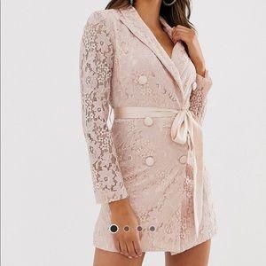 Asos Love Triangle Nude Pink Lace Blazer Dress